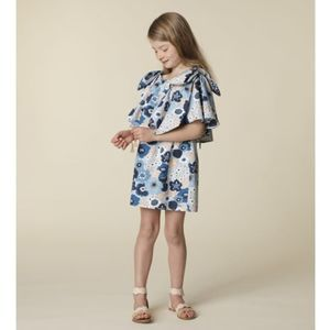 Chloe Girls Floral Ruffle Bow Detail Dress